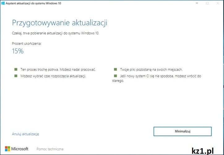 wymuszenie aktualizacji windows 10
