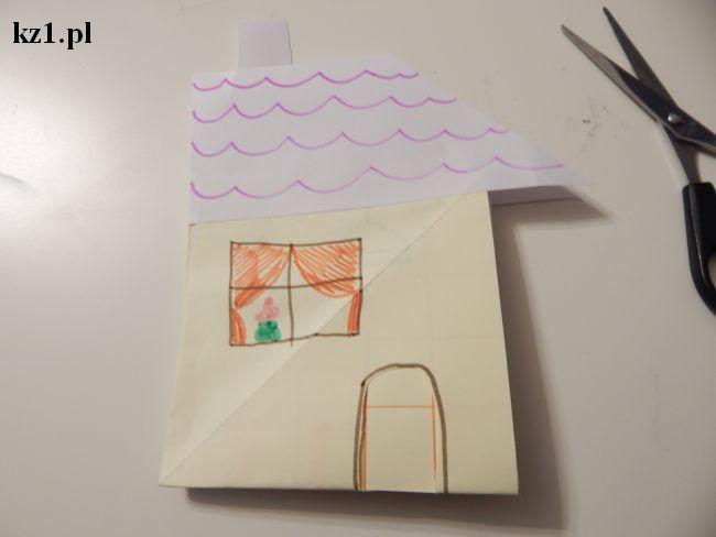 dom trójwymiarowy zrobiony z kartki papieru