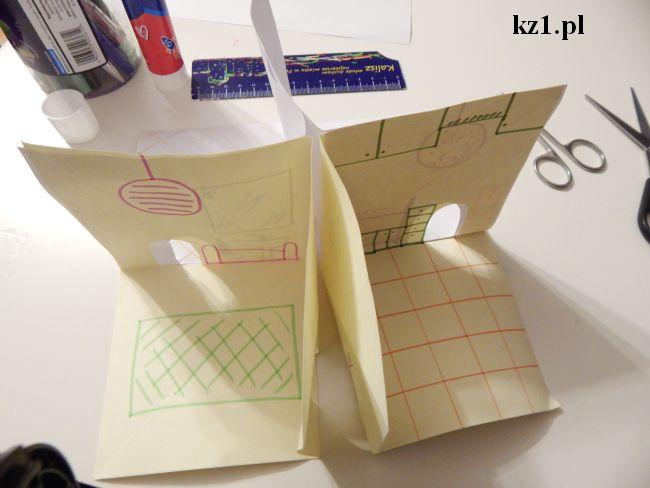 trójwymiarowy domek z kartki
