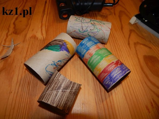 pomalowane rolki po papierze