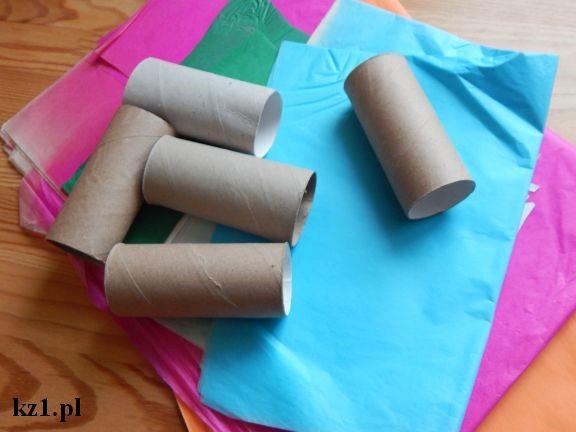 rolki po papierze i kolorowa bibuła