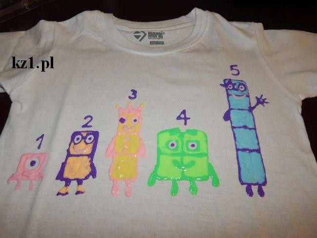 klocki numberblocks na koszulce
