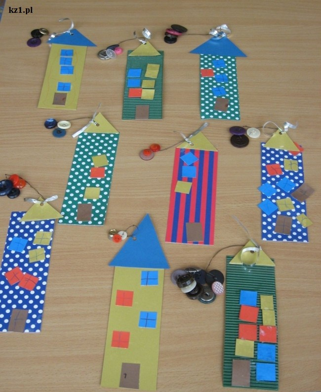 zakładki domki do książek wykonane z dziećmi
