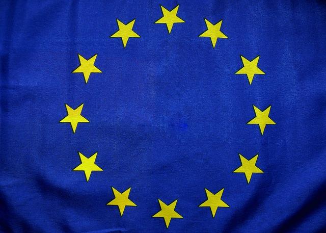 flaga UE niebieskie tło i złote gwiazdy 12 sztuk