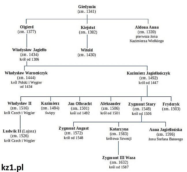 drzewo genealogiczne jagiellonów