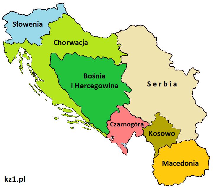 państwa powstałe po rozpadzie jugosławii