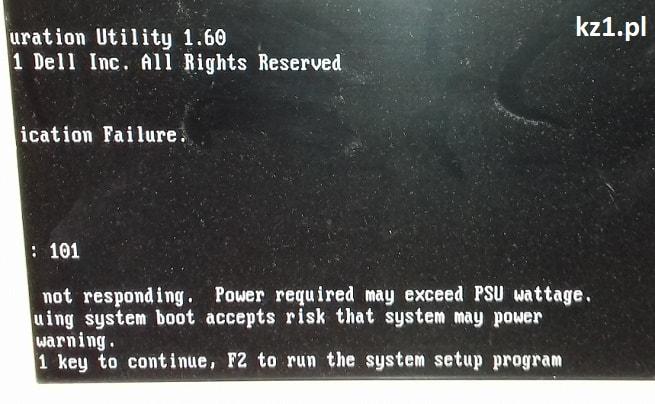 komunikat błędu iDRAC6 not responding. Power required may exceed PSU wattage