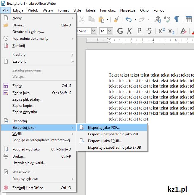 eksportuj jako pdf w writerze