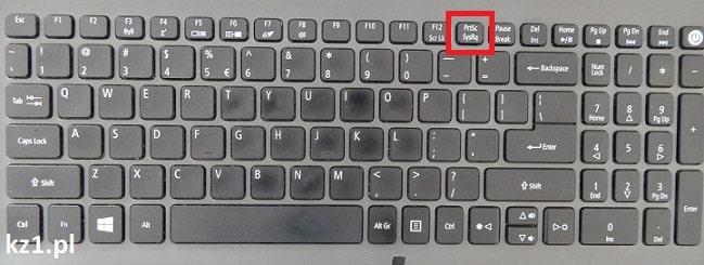 klawisz printscreen na klawiaturze laptopa