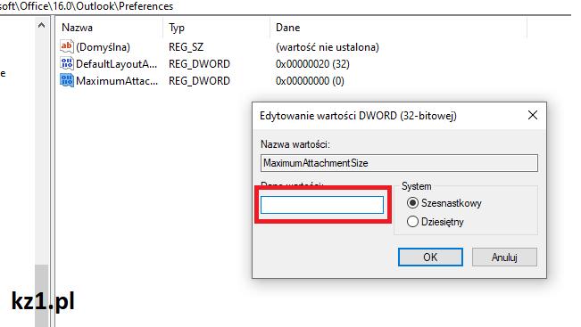 zwiększenie limitu załącznika w outook