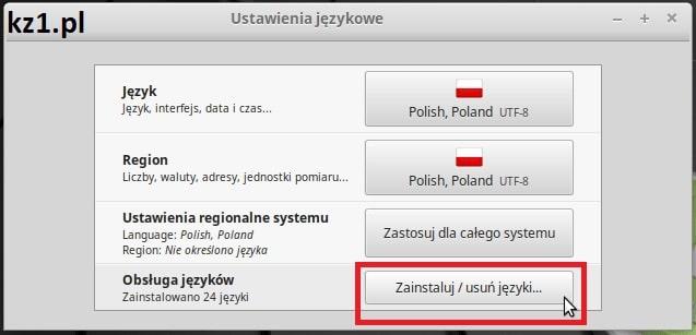 linux instalacja pakietów językowych