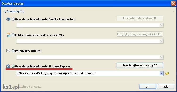 otwieranie bazy wiadmości email za pomocą mitec mail viewer