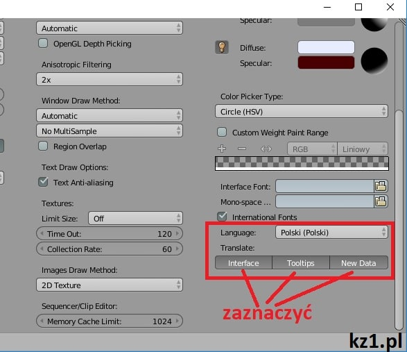 włączanie polskiej wersji językowej w blenderze