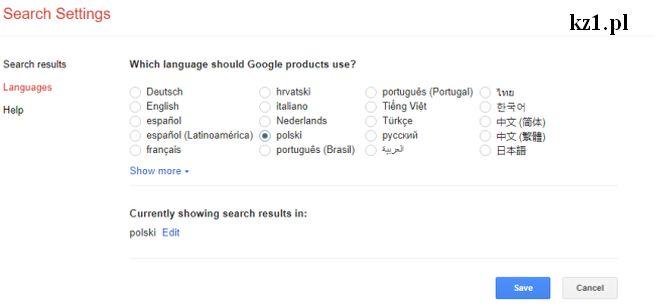 wybór języka w przeglądarce google