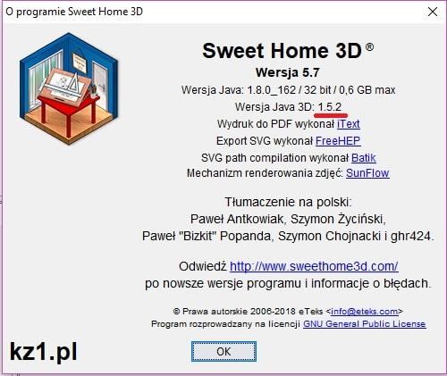 wersja programu sweet home 3d
