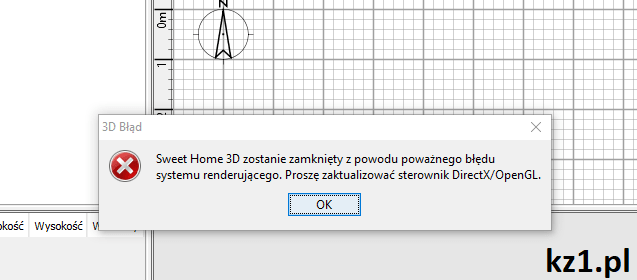 błąd directx opengl programu sweet home 3d