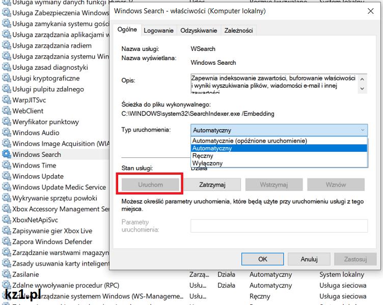 włączenie usługi windows search