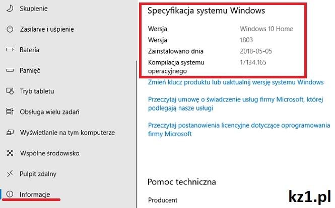 sprawdzanie wersji sytemu windows 10