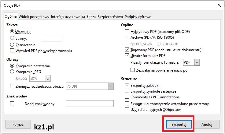 zaawansowany eksport do pliku pdf