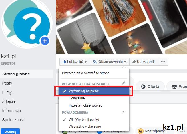 włączenie powiadomień postów z profili na facebooku