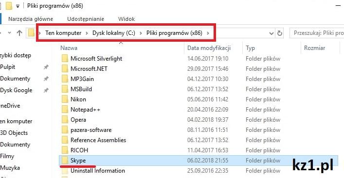 usuwanie pozostałości plików skype z systemu