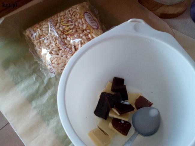 czekolada, mleko i ryż preparowany biały