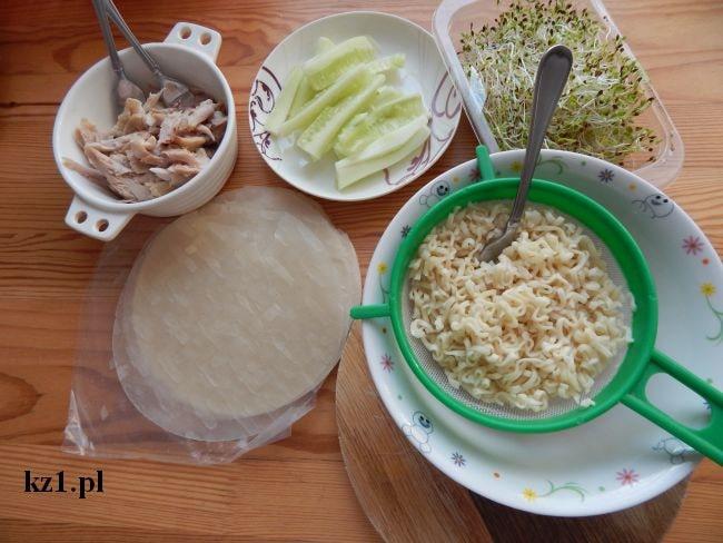 składniki na spring rollsy