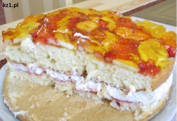 tort z owocami i galaretką