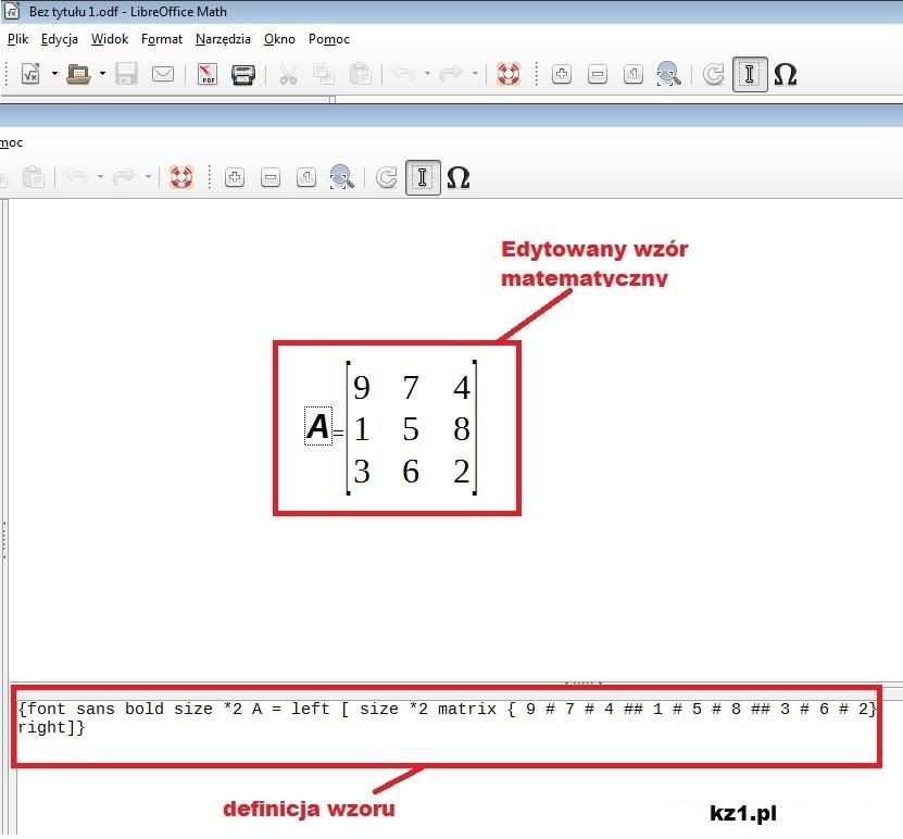 tworzenie macierzy 3x3 w Math
