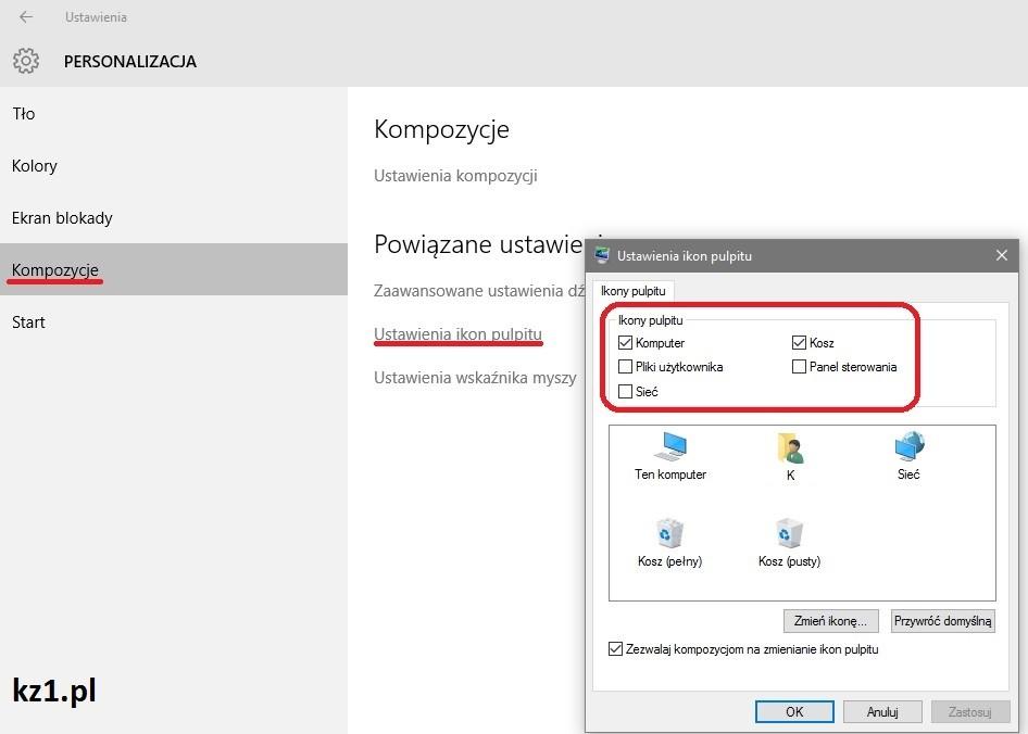 przywracanie ikonki mój komputer w windows 10