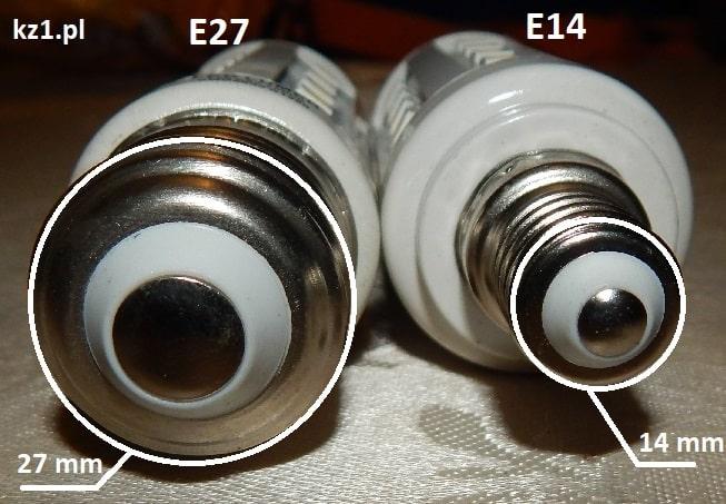 średnica gwintów e27 i e14