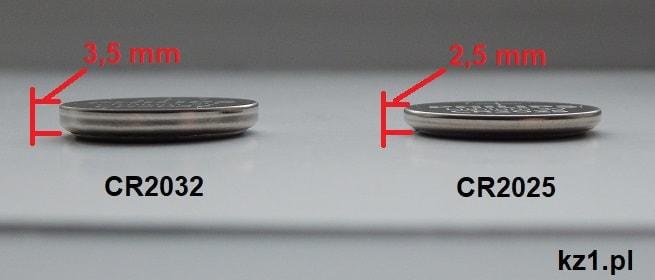 różnice w wysokości baterii CR2032 i CR20225