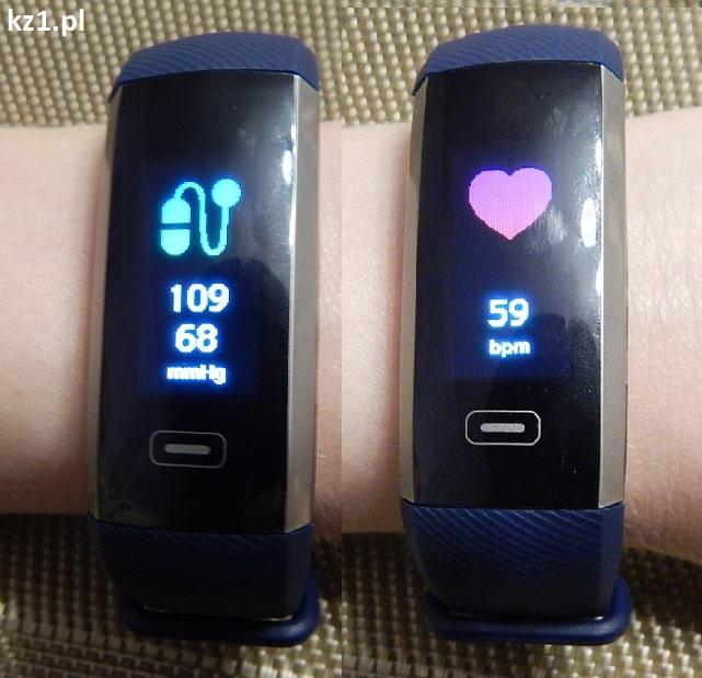 wynik pomiaru ciśnienia i pulsu smartbandem