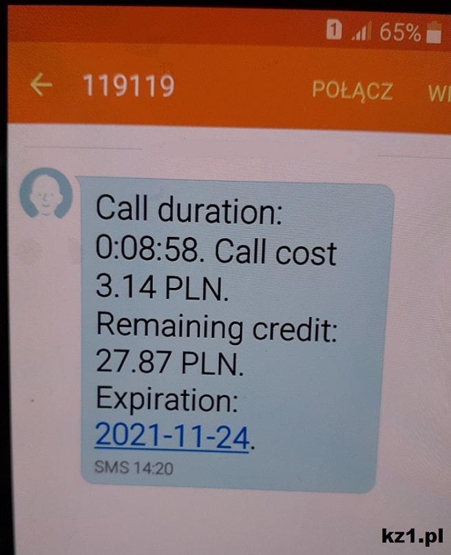 sms z numeru 119119 plus