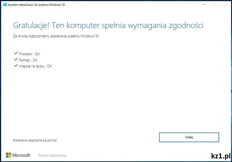 asystent aktualizacji do systemu windows 10