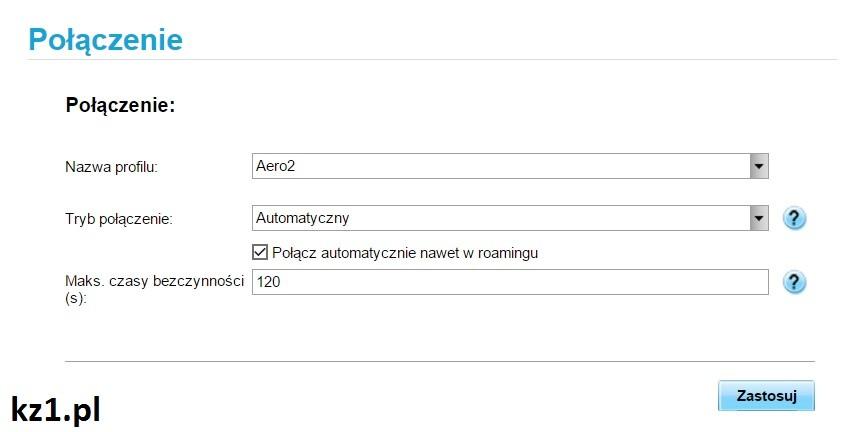 domyślny profil połączenia aero2 w huawei e586