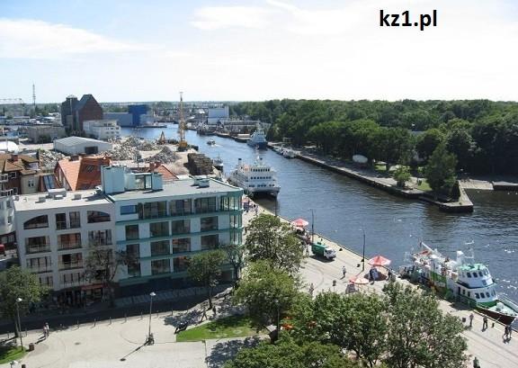 widok na port w kołobrzegu