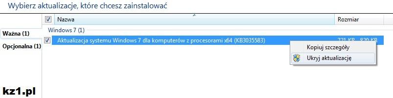 ukrycie instalacji aktualizacji windows