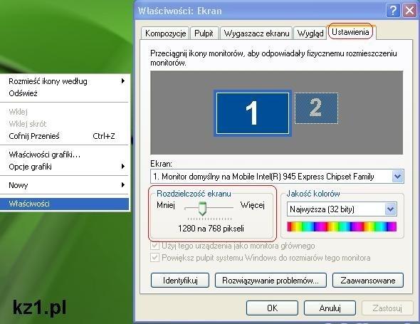 sprawdzanie rozdzielczości ekranu w windows xp